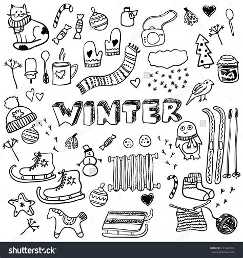 Winter Doodles Collection Stylish Design Elements