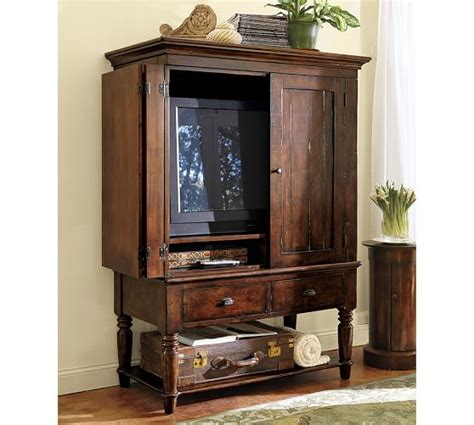 wide tv armoire pottery barn mason media armoire 48 quot wide x 24 quot deep x 67