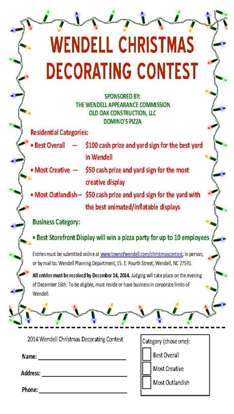 office holiday decorating contest flyer decorating contest town of wendell
