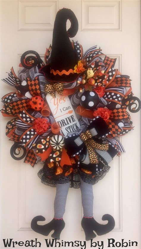 decorative mesh for doors halloween deco mesh witch wreath in orange and black fall