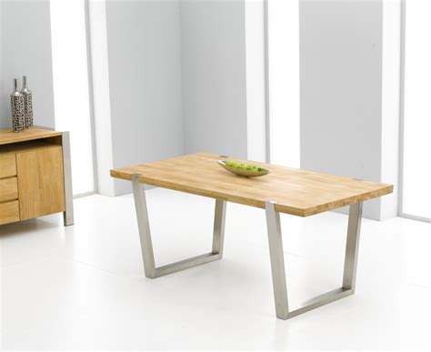 flavia oak brushed steel dining table oak furniture