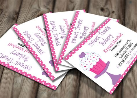 Polka Dot Bakery Business Card Design Editable Template Bakery Business Card Template