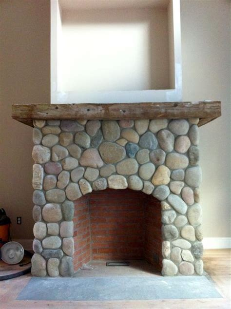River Rock Veneer Fireplace by Rock Work Idea For Fireplace For The Home