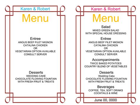 menu card templates free wedding menu template 5 free printable menu cards