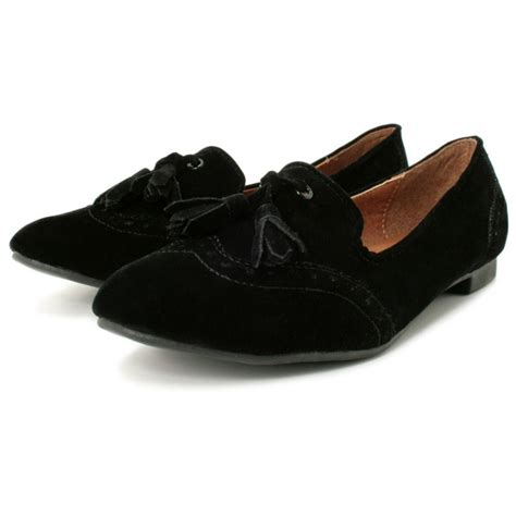 footwear loafers womens black suede style flat brogue pumps loafers shoes