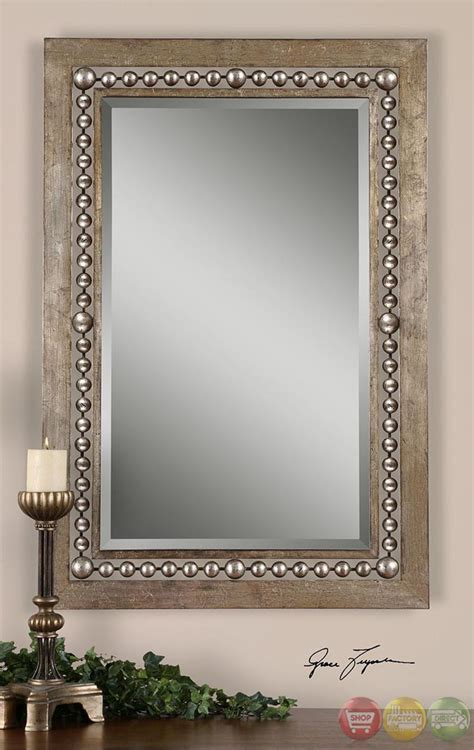 beaded frame mirror this generous scaled beveled mirror fidda modern antiqued silver leaf rectangular mirror w
