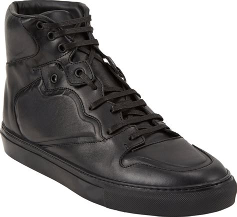 balenciaga black sneakers balenciaga paneled high top sneakers in black for lyst