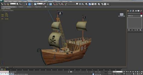 cartoon boat 3d model low poly cartoon pirate ship 3d model
