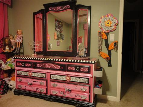 monster high bedroom furniture pink and black quot princess quot dresser painted furniture