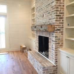 Living Room With Brick Fireplace Photos Living Room Builtins Fireplace Chunky Beamed Mantle
