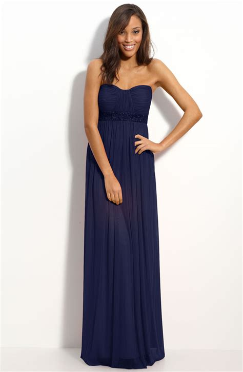strapless navy bridesmaid dresses