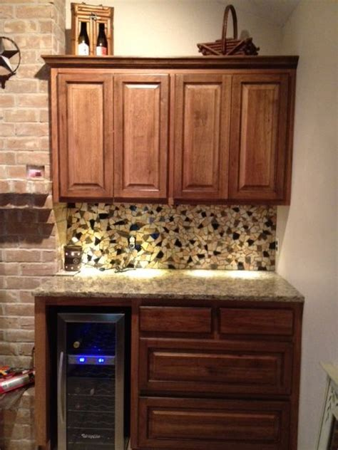 broken tiles used as mosaic backsplash kitchen ideas