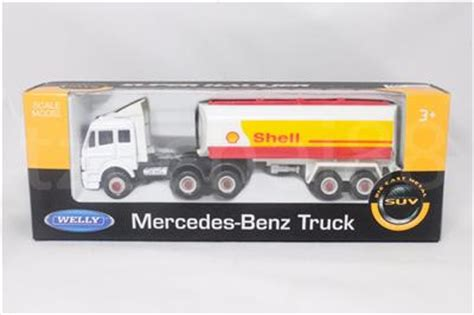 Mainan Diecast Welly 160 welly 1 60 die cast mercedes shell tanker truck white color