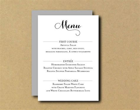 printable menu card printable custom diy menu card romantic chic