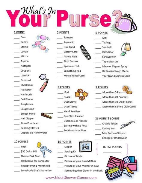 printable bridal shower purse scavenger hunt purse scavenger hunt party ideas pinterest purse