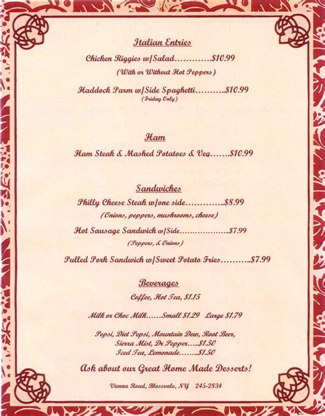 supper menus s diner dinner menu