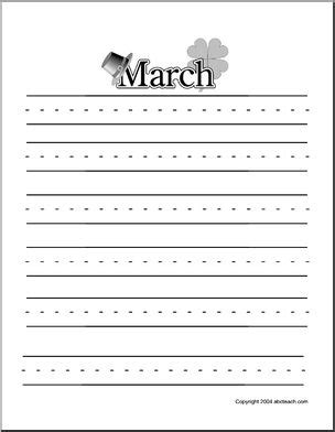 march printable stationary march writing paper three ruled lines printable abcteach