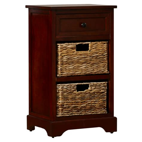 Nightstand With Basket Drawers Storage End Table Drawer 2 Baskets Wooden Nightstand
