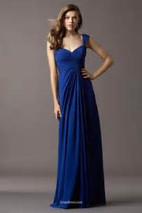 royal blue chiffon long bridesmaid dress draped sweetheart