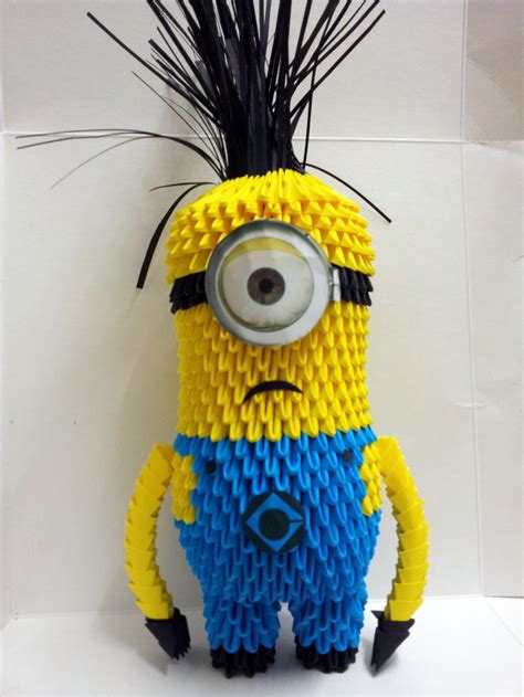 How To Make Paper Minions - 3d origami minion by origamikez on deviantart