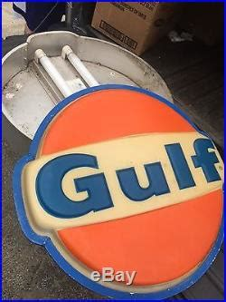large vintage gulf gas station gasoline motor oil