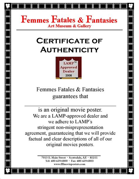 certification letter of authenticity certificate of authenticity fff posters