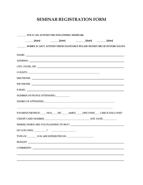 seminar registration form forms and business