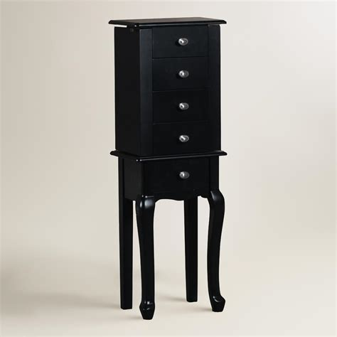 black armoire black wood villette jewelry armoire world market