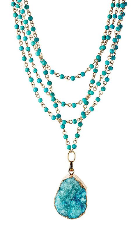 cast gold with aqua drusy necklace everything turquoise