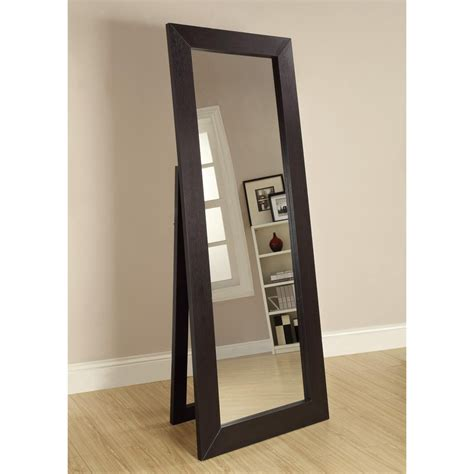 shop coaster fine furniture 28 in x 72 in black beveled rectangle framed floor mirror at lowes com