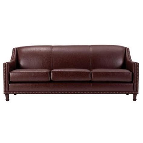 home decorators collection rockford leather sofa in brown