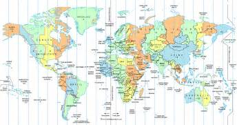 Time Zone Map Of The World by Large World Time Zone Map