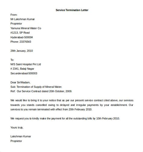 termination letter for a service contract termination letter template 20 free sle