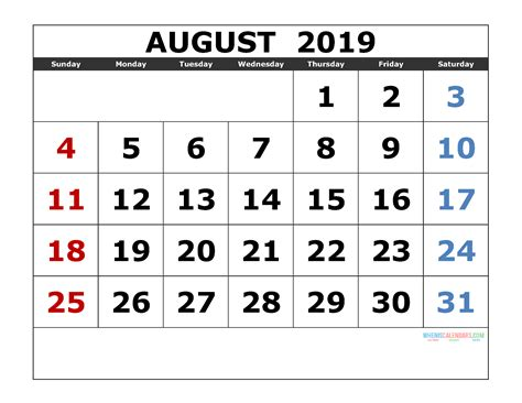 august  printable calendar templates  monthly calendar  printable