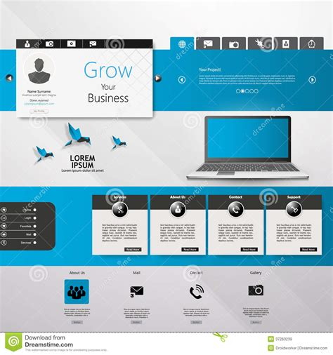 templates for website with slider website ui elements gray and blue navigation bar buttons