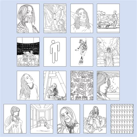 billie eilish coloring book digital  billie eilish