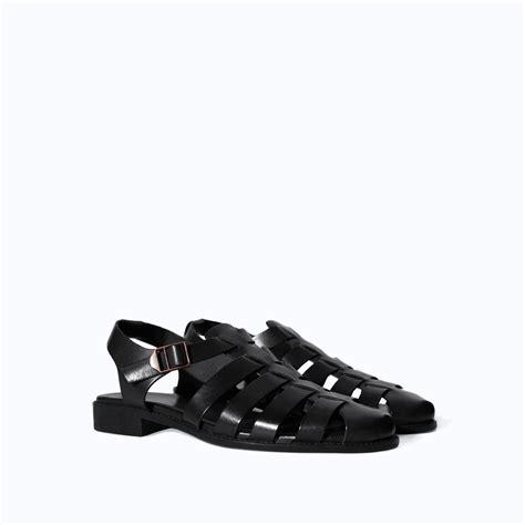 zara leather sandals zara leather sandal in black for lyst