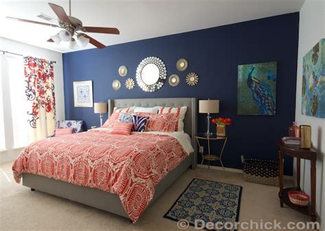 coral bedroom ideas i redid our master bedroom again navy and coral bedroom decorchick
