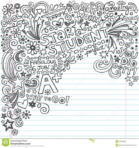 free paper doodle theme student great grades a plus inky notebook doo stock