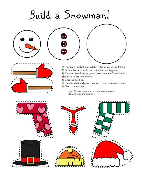 smarty pants fun printables printable snowman  snow