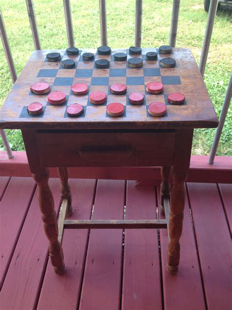 outdoor checker table     distressed