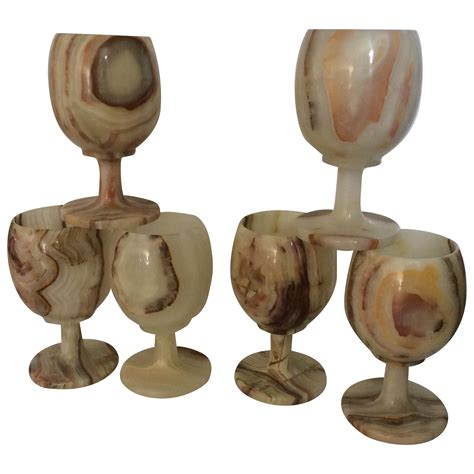 Carved Onyx Wine Glass Goblets Set Of 6 Chairish