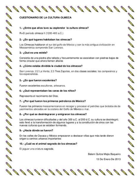 cuestionario de la cultura olmeca
