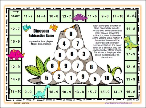 printable math division board games dinosaur subtraction game 2 png 808 215 597 remidial