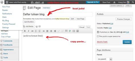 petunjuk membuat blog di wordpress tips membuat daftar isi arsip di wordpress blogerid