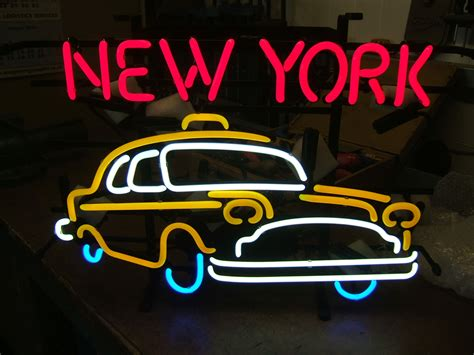 neon light signs nyc new york cab retro neon sign
