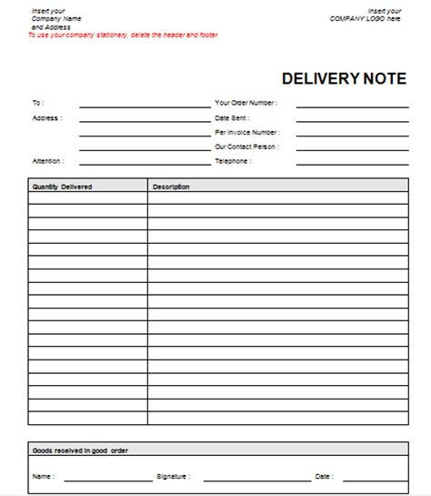 proof of delivery template word image gallery delivery note