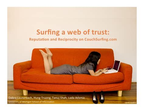 couch surfing websites surfing a web of trust reputation and reciprocity on
