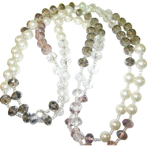 pearl bead necklace vintage faux pearl bead necklace from