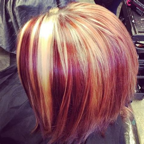 foils with red blonde chin length hair 20 best hair color ideas in the world of chunky highlights